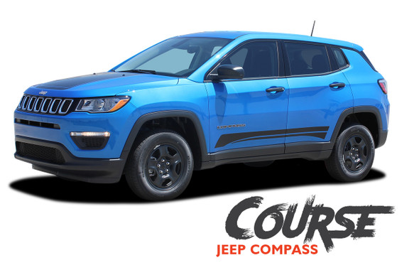 Jeep Compass COURSE Lower Rocker Door Body Line Accent Vinyl Graphics Decal Stripe Kit for 2017 2018 2019