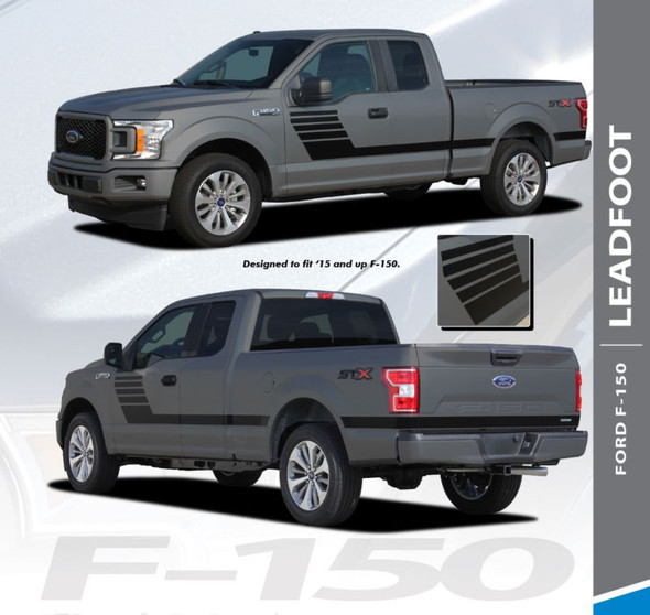 Ford F-150 LEAD FOOT Special Edition Side Door Hockey Stripe Vinyl Graphics Decals Kit 2015 2016 2017 2018 2019