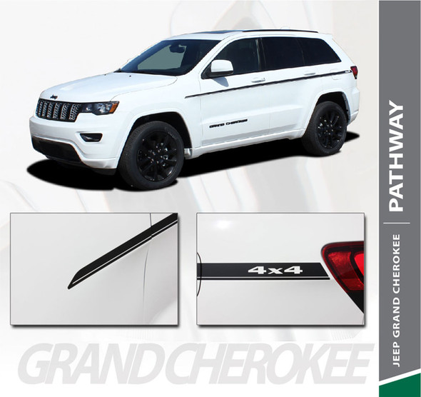 Jeep Grand Cherokee Upper Body Line Accent PATHWAY SIDES Vinyl Graphics Decal Stripe Kit 2011-2019