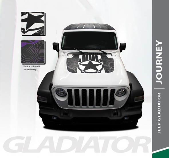 Jeep Gladiator JOURNEY Hood Vinyl Graphics Decal Stripe Kit for 2020 2021 Models