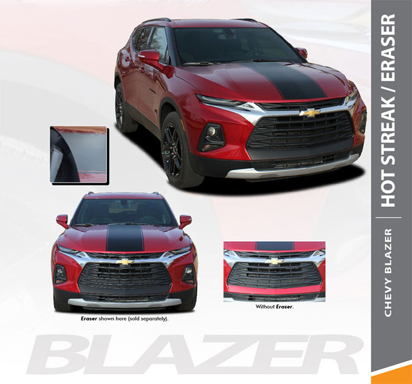 Chevy Blazer HOT STREAK and ERASER Hood Stripes and Bumper Decal Accent Vinyl Graphic Decal Stripe Kit 2019 2020 (6814-15)