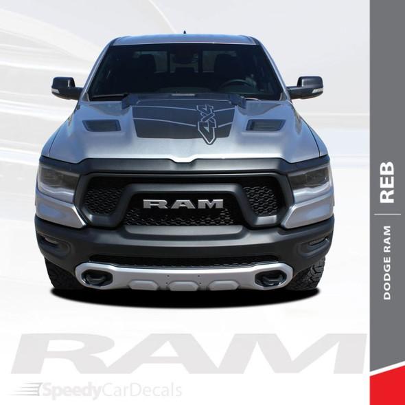 Dodge Ram Rebel Decals REB HOOD 1500 Hood Stripes Vinyl Graphics Kit 2019-2021 Models