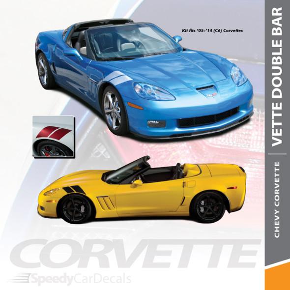 DOUBLE BAR   Chevy Corvette Fender Stripe Graphic 2005-2013 Wet and Dry Install Vinyl
