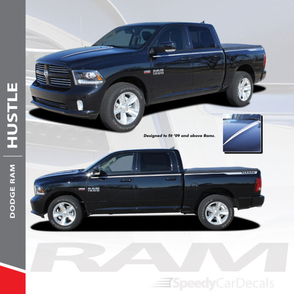 HUSTLE : 2009-2018 Dodge Ram Hood Spears and Rear Bed Side Stripes Vinyl Graphics Decals Kit