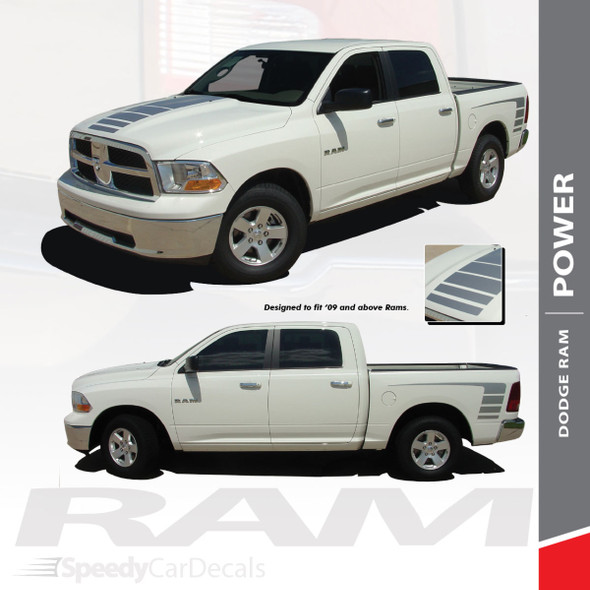 POWER : 2009-2018 Dodge Ram Strobe Hood Truck Bed Stripe Decal Vinyl Graphics Kit