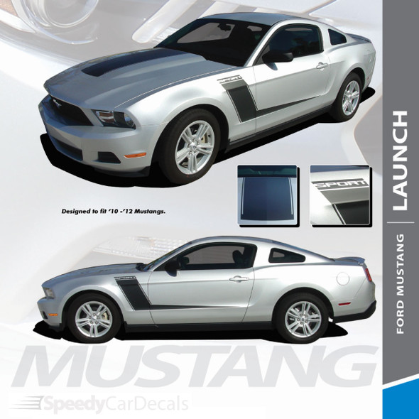 LAUNCH : 2010-2013 Ford Mustang Center Hood and Hockey Side Door Hockey Vinyl Graphic Striping Kit