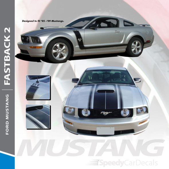FASTBACK 2 : 2005-2009 Ford Mustang BOSS Style Hood Side Door Vinyl Graphics Racing Stripe Kit