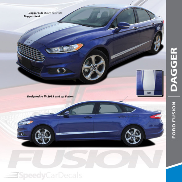 DAGGER : 2013-2020 Ford Fusion Hood and Lower Door Body Vinyl Graphics Decals Stripe Kit