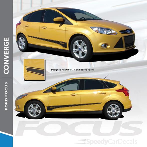 CONVERGE : 2012-2017 Ford Focus Side Door Accent Vinyl Graphics Decals Stripe Kit