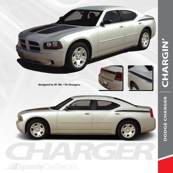 CHARGIN : 2005-2009 Split Hood Rear Quarter Panel H/O Rear Blackout Vinyl Graphics Decals Stripes Kit