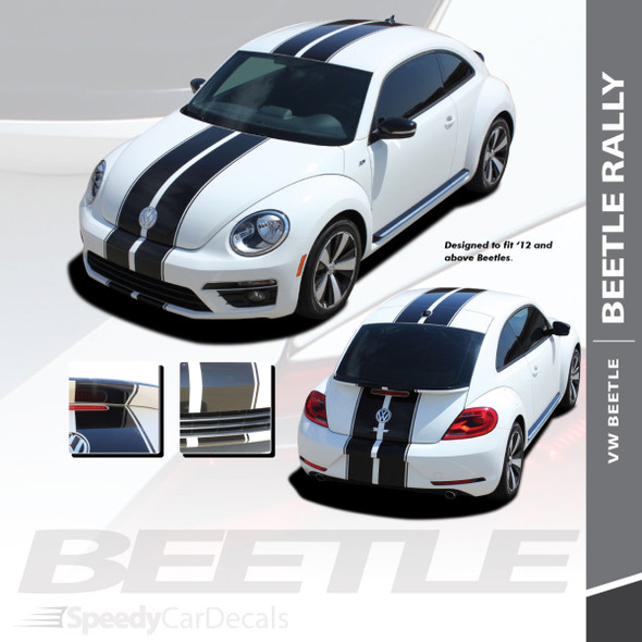 VW Beetle Stripes Decals BEETLE RALLY Vinyl Graphics fits 2012-2018 - 3M Wet Install and Avery Dry Install