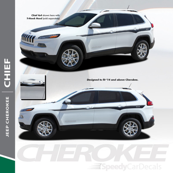 CHIEF : 2013-2018 Jeep Cherokee Upper Body Line Accent Vinyl Graphics Decal Stripe Kit