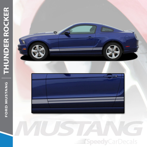 THUNDER ROCKER : 2013-2014 Ford Mustang Lower Rocker Panel Stripes Vinyl Graphic Decals Kit