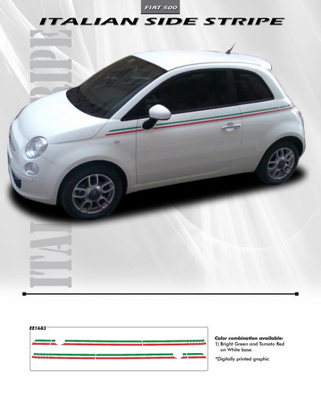 Fiat 500 Italia Side Stripes ITALIAN 2012-2014 2015 2016 2017 2018 2019