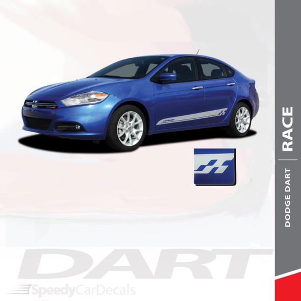 RACE : 2013-2016 Dodge Dart Lower Door Rocker Vinyl Graphics Decals Stripes Kit