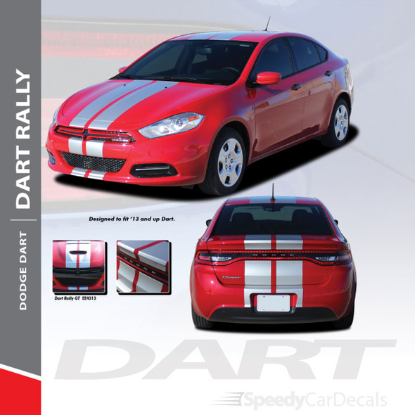 DART RALLY : 2013-2016 Dodge Dart Bumper to Bumper Hood Rally Racing Stripes Kit