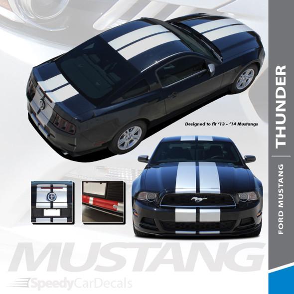 "THUNDER : 2013-2014 Ford Mustang 10"" Lemans Style Racing Stripes Hood Rally Striping Vinyl Graphics Kit"