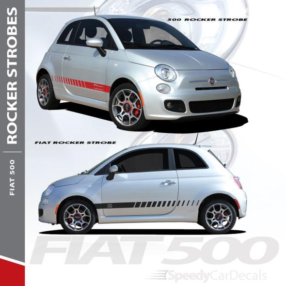 SE 5 ROCKER STROBES : 2011-2019 Fiat 500 Abarth Lower Door Rocker Panel Vinyl Graphics Stripes Decals Kit