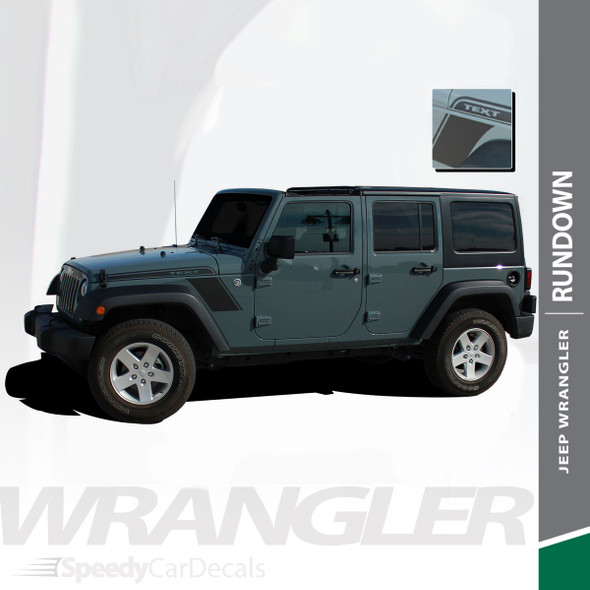 RUNDOWN : 2007-2017 Jeep Wrangler Hood to Fender Vinyl Graphics Decal Stripe Kit