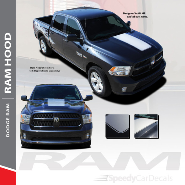 RAM HOOD : 2009-2018 Dodge Ram Hood Blackout Vinyl Graphics Stripe Decal Accent Kit