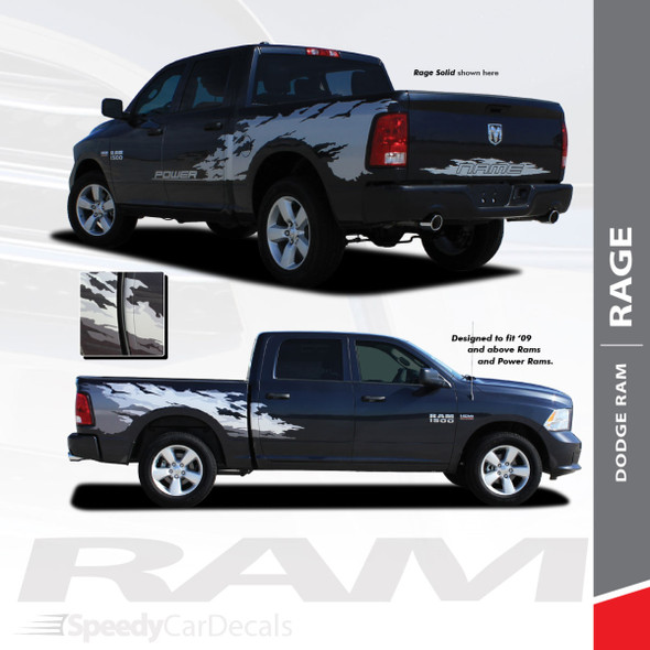 """RAM RAGE SOLID : 2009-2018 Dodge Ram """"Power Wagon Style"""" Vinyl Graphics Truck Bed Decal Striping Kit"""