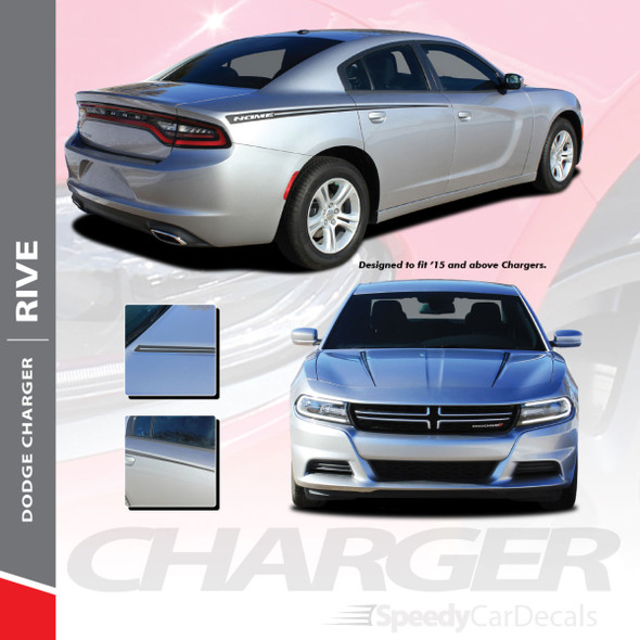 RIVE : 2015-2018 2019 2020 2021 Dodge Charger Hood Spikes and Rear Quarter Panel Sides Vinyl Graphic Decals Stripe Kit