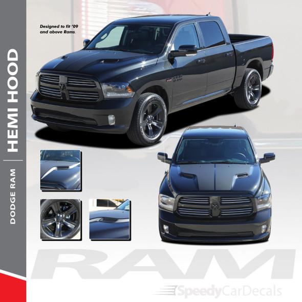 HEMI HOOD : 2009-2018 Dodge Ram Split Hood Vinyl Graphics Accent Decal Stripe Kit