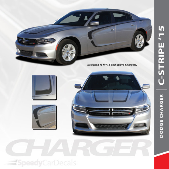 C-STRIPE 15 : 2015-2018 2019 2020 2021 Dodge Charger C Style Side Door and Hood Vinyl Graphic Decals Stripe Kit