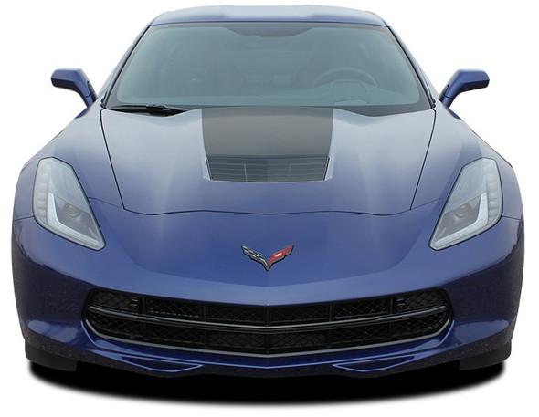 C7 HOOD : 2014-2018 Chevy C7 Corvette Hood Blackout Stripes Vinyl Graphic Decals Kit Wet and Dry Install Vinyl