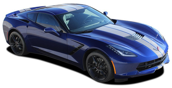 C7 RALLY : 2014-2018 Chevy C7 Corvette Racing Stripes Bumpers Hood Roof Trunk Vinyl Graphic Decals Kit