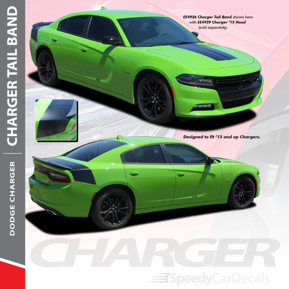 TAILBAND 15 : 2015-2018 2019 2020 2021 Dodge Charger Hemi Daytona R/T SRT 392 Hellcat Mopar Blackout Style Rear Decklid Trunk Vinyl Graphics Decals Kit