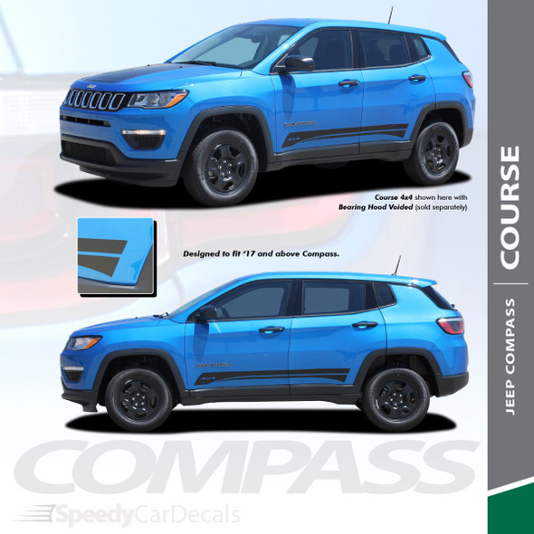 COURSE ROCKER | Jeep Compass Graphic Decals 2017-2020 2021 Wet and Dry Install Vinyl