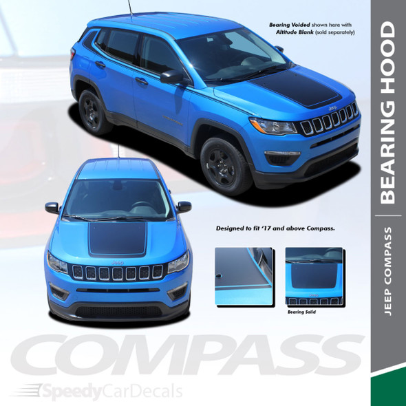 BEARING HOOD | Jeep Compass Hood Stripe Decals Voids 2017-2020 2021 Wet and Dry Install
