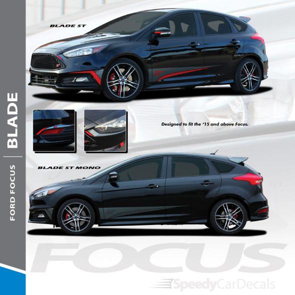BLADE : 2012-2018 Ford Focus Side Door Accent Vinyl Graphics Striping Decals Kit