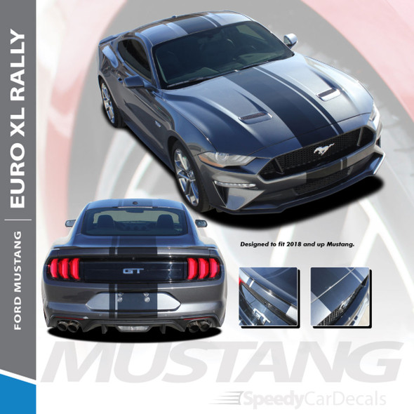 EURO RALLY   2018 2019 2020 2021 Ford Mustang Center Vinyl Matte Black Stripe Premium Auto Striping