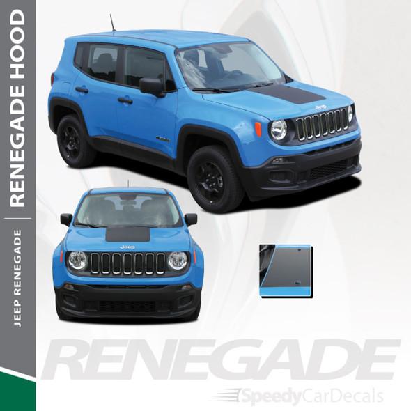 RENEGADE HOOD : 2014-2018 2019 2020 2021 Jeep Renegade Center Hood Blackout Trailhawk Style Vinyl Graphics Decal Stripe Kit