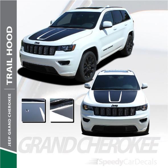 TRAIL HOOD : 2011-2021 Jeep Cherokee Trailhawk Hood Blackout Vinyl Graphics Decal Stripe Kit