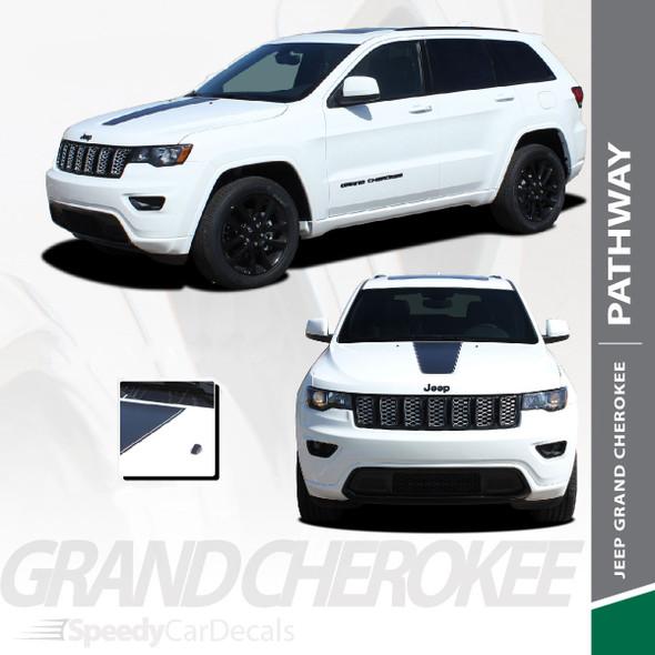 PATHWAY HOOD : 2011-2021 Jeep Cherokee Center Hood Blackout Vinyl Graphics Decal Stripe Kit