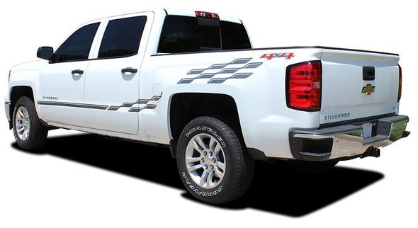 Rear View Chevy Silverado Upper Body Vinyl Graphics CHAMP 2013-2018