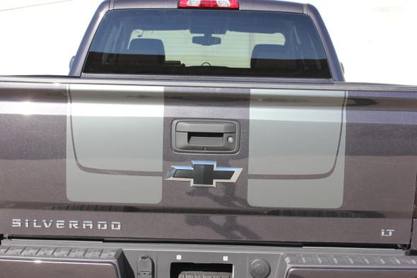 Tailgate View of Black 2016 2017 2018 Chevy Silverado Hood Stripes