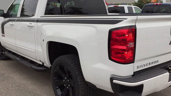 """Side of white FLOW 2018 2017 2016 Chevy Silverado """"Special Edition Rally"""" Hood and Side Door Body Hockey Accent Vinyl Graphic Stripe"""