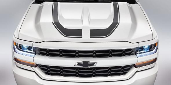 Hood View of white 1500 Chevy Silverado Special Ops Stripes 2016-2018