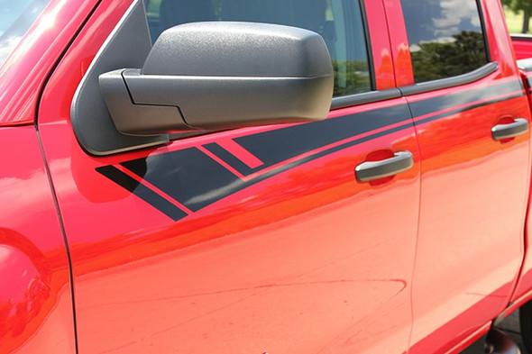 close up of red 2014-2017 2018 Chevy Silverado Door Stripes BREAKER