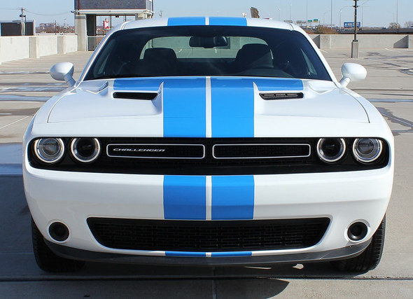 Front View of 2018 Dodge Challenger Custom Racing Stripes WINGED RALLY 2015-2021