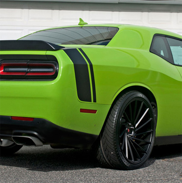 Rear View of Green 2018 Dodge Challenger Stripe Options TAIL BAND 2015-2021