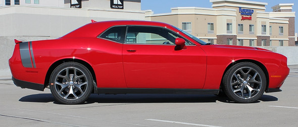 Rear View of Red 2018 Dodge Challenger Stripe Options TAIL BAND 2015-2021