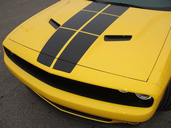 Front of Yellow 2018 Challenger Blacktop Stripes PULSE RALLY 2015-2019 2020 2021