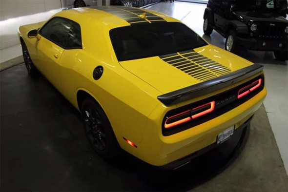 Rear of Yellow 2018 Challenger Blacktop Stripes PULSE RALLY 2015-2019 2020 2021