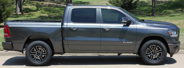 Side View of 2019 Ram 1500 Stripes RAM EDGE Side Decals Kit 2019 2020 2021