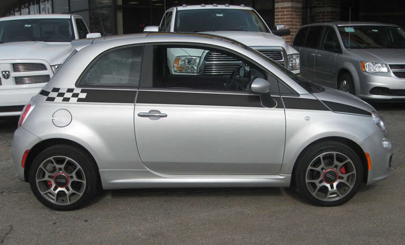 Fiat 500 Custom Side Stripe Graphics 3M SE5 CHECK 2012-2019